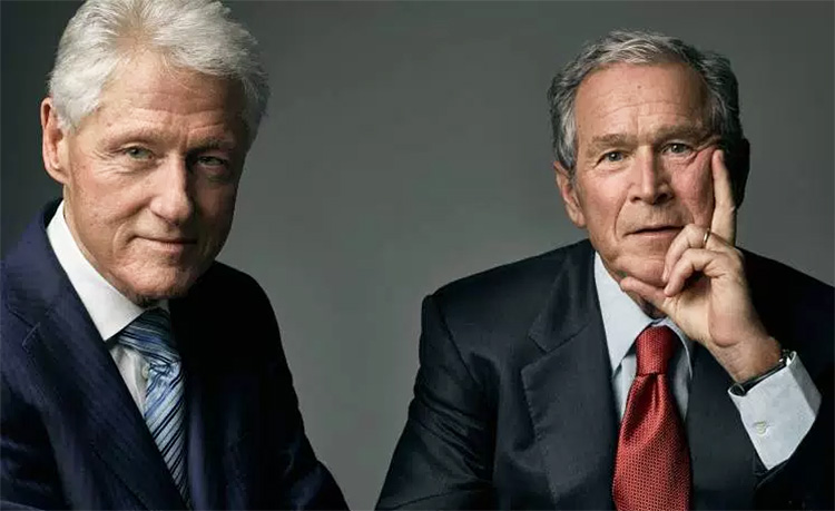Presidents Clinton and GW Bush