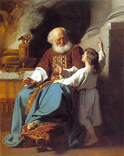 Eli counseling the young Samuel