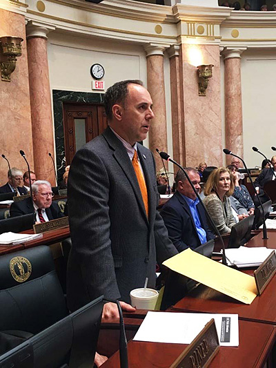 Tim arguing a bill on the floor of the Kentucky House of Representatives.